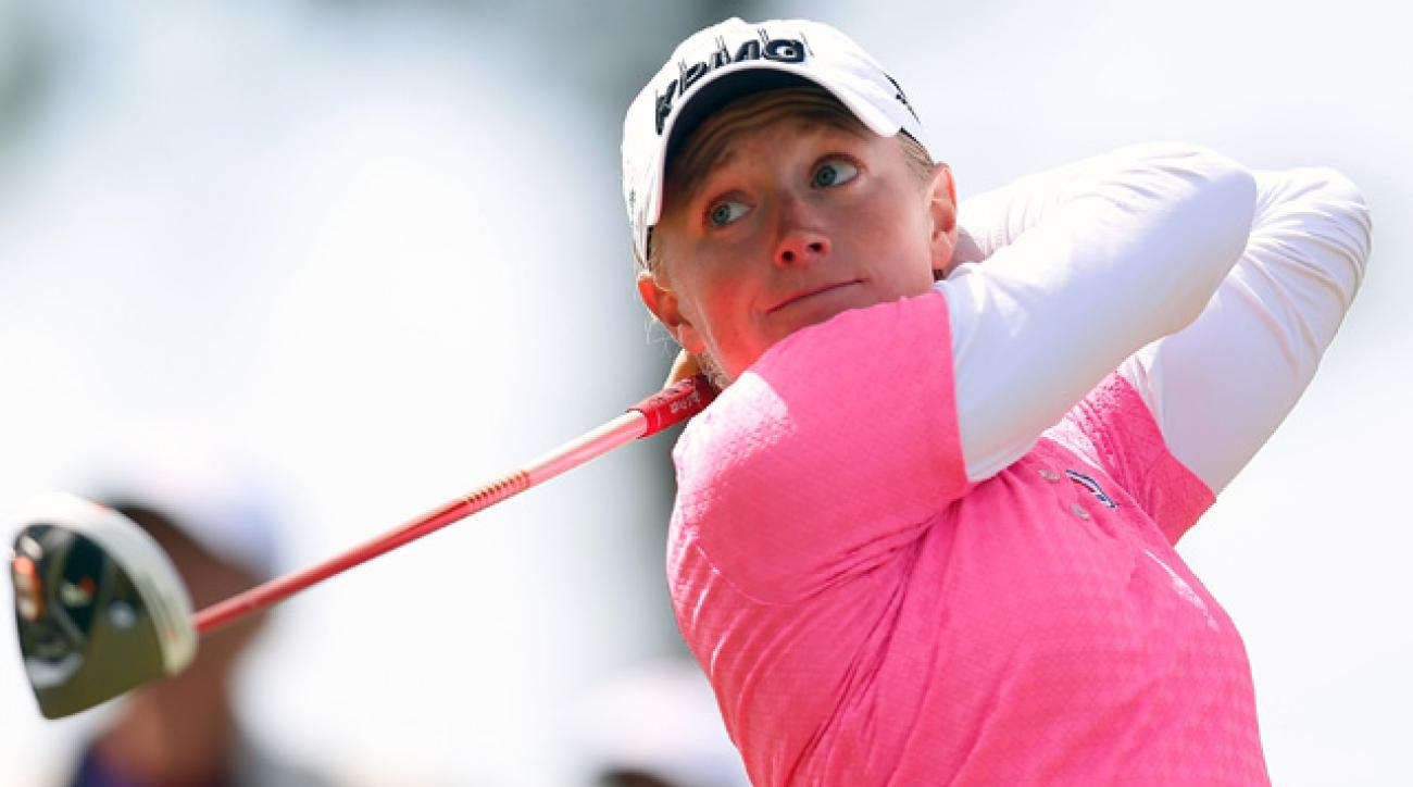Stacy Lewis tees off on the 6th hole.