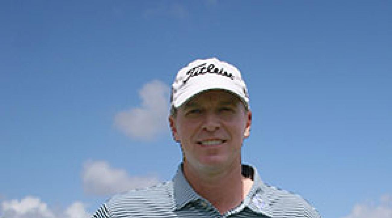Stricker wears clothing by Peter Millar but logos reflect his sponsors, Titleist and the New York Stock Exchange.