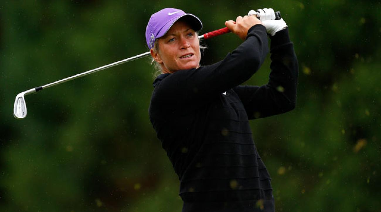 Suzann Pettersen tees off on the second hole during the third round of the LPGA Portland Classic.