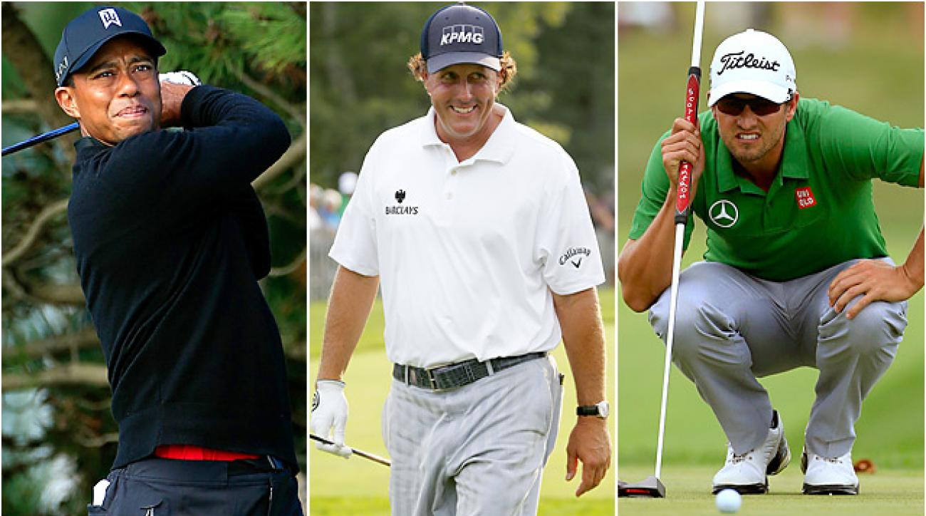 Tiger Woods appears to be the frontrunner for player of the year honors, but Phil Mickelson and Adam Scott have one final event to make their case.