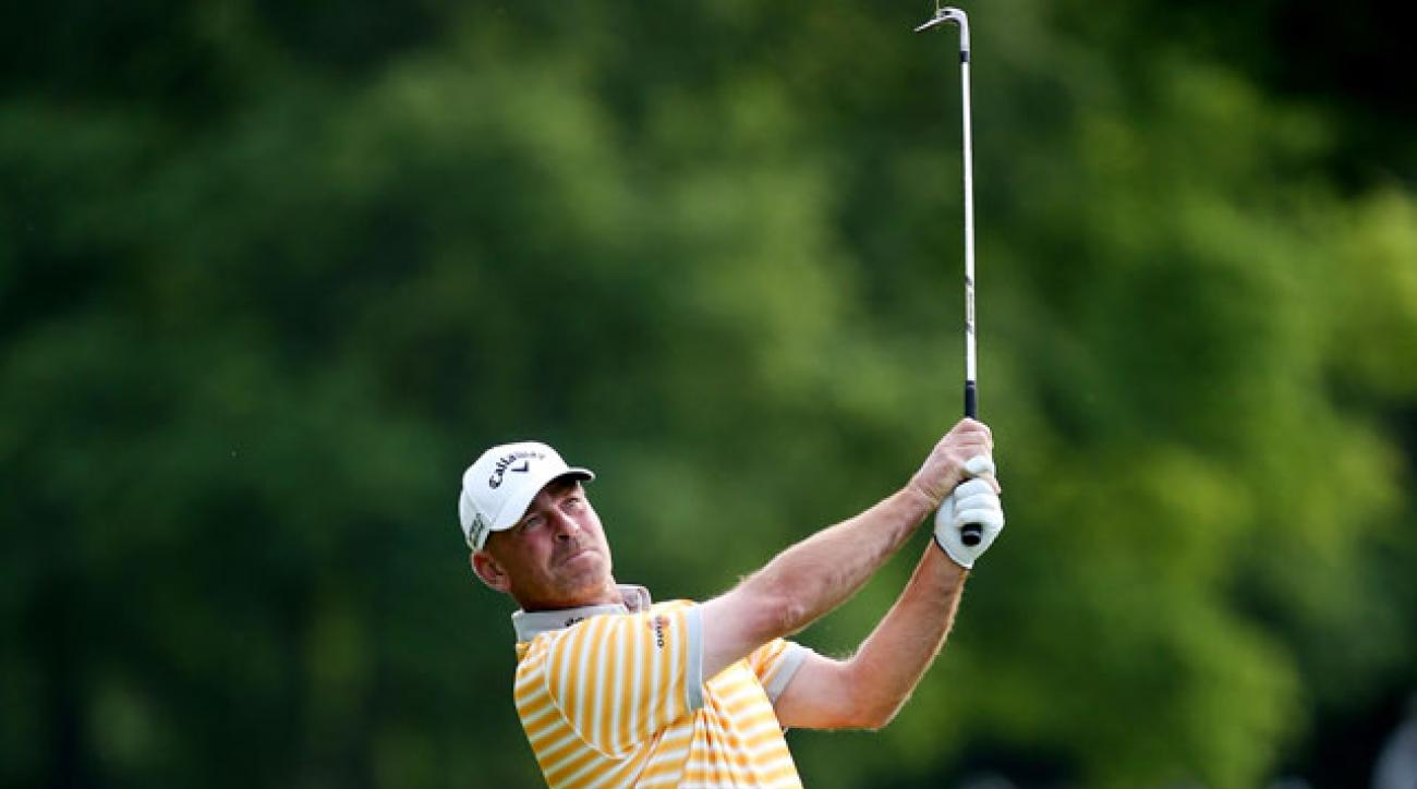 Thomas Bjorn plays the second round of the BMW PGA Championship.