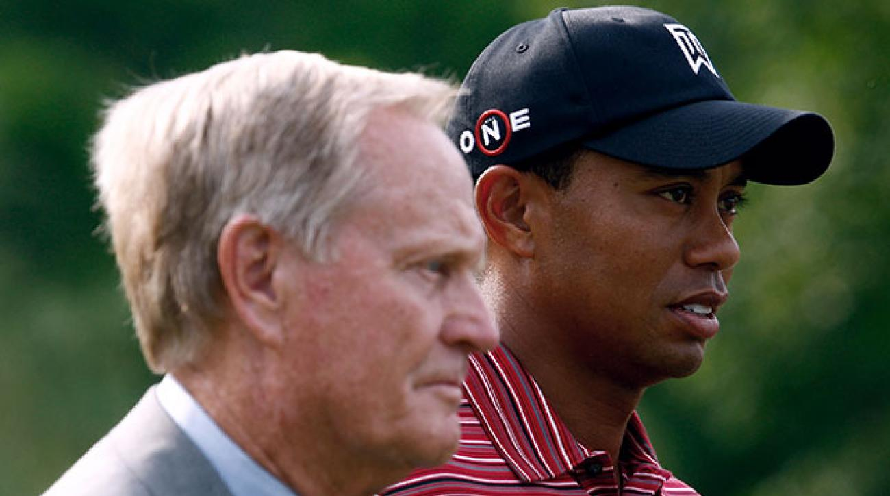 Jack Nicklaus and Tiger Woods after Woods' victory at the 2009 Memorial Tournament at Muirfield Village.
