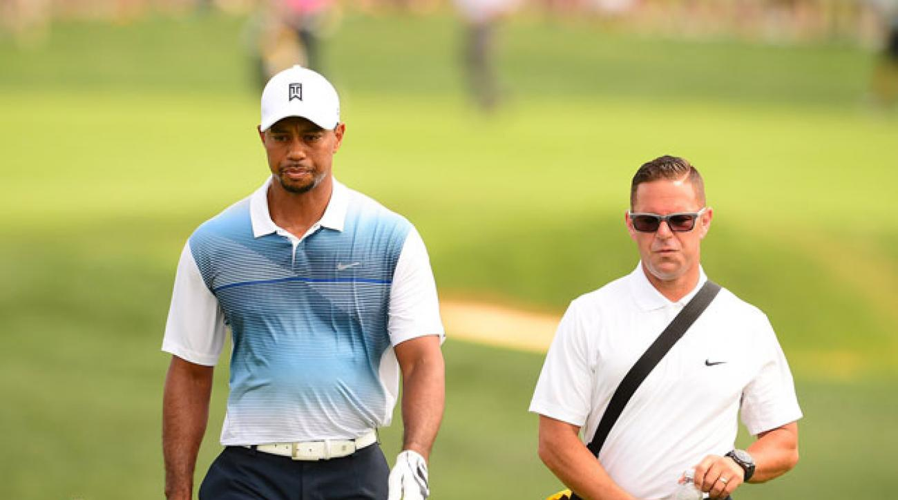 Tiger Woods and Sean Foley at the 2014 PGA Championship.