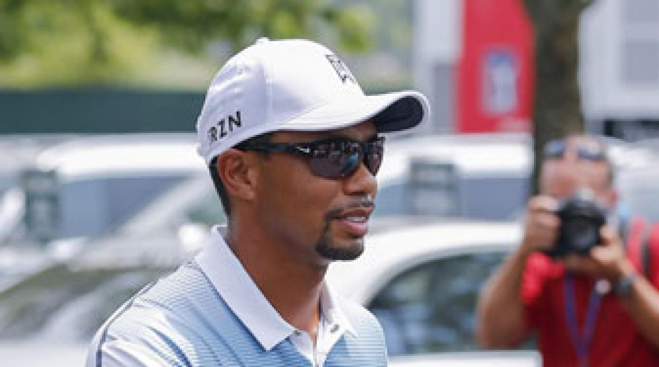 Tiger Woods arrives Wednesday at Valhalla Golf Club.