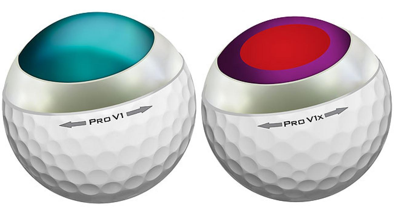 2013 Titleist Pro V1 (left), Pro V1x