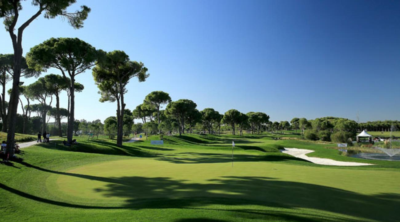 The par 5, 18th hole at the Montgomerie Maxx Royal Course.