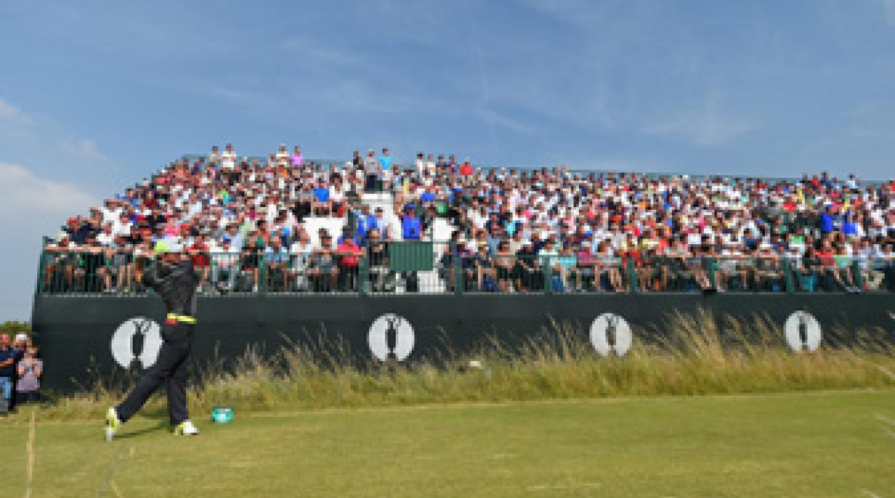 Rory McIlroy tees off on the 10th hole at Royal Liverpool during Friday's second round.