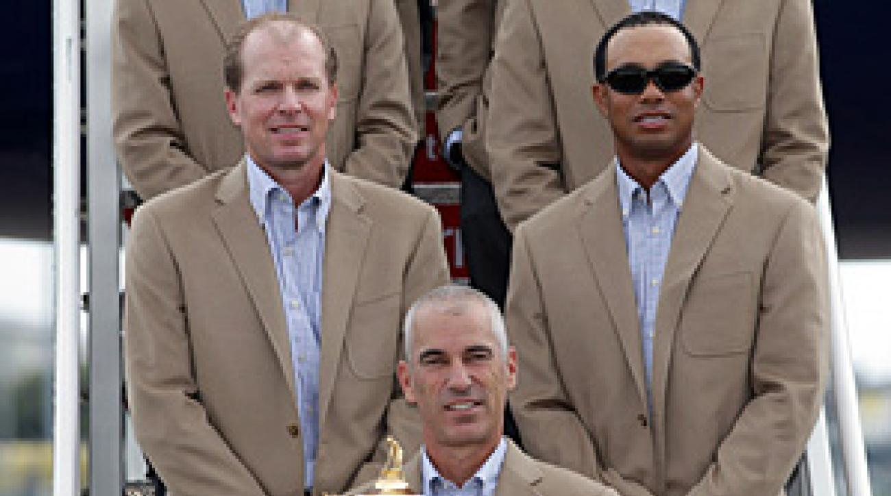 U.S captain Corey Pavin, Steve Stricker and Tiger Woods arrived with the rest of the players in Cardiff, Wales, on Monday.