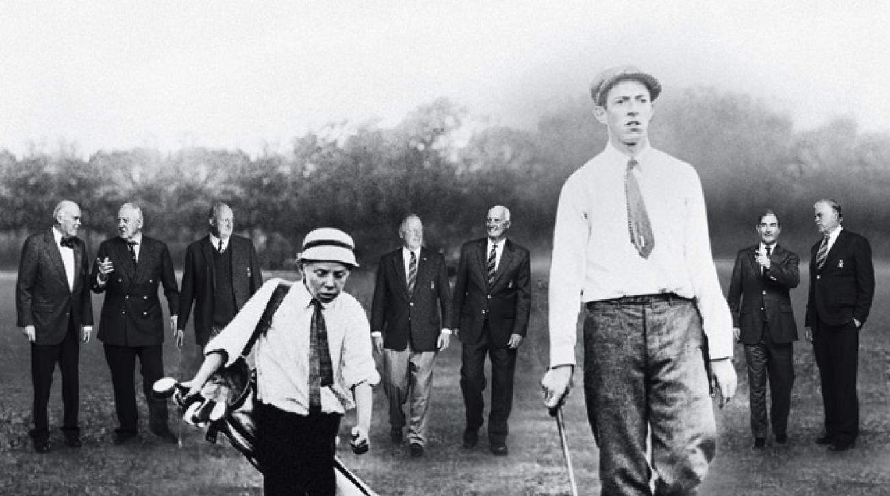 Foreground: Lowery and Ouimet on their way to an upset victory at the 1913 U.S. Open at The Country Club. Background: A group of present-day Country Club members so well versed in Ouimet's heroics that you'd swear they'd had a front-row seat. (From left: J. Louis Newell, Bud Patten, Fred Waterman, Westy Saltonstall, Dick Lundgren, Sandy Tierney, and John L. Hall II.)