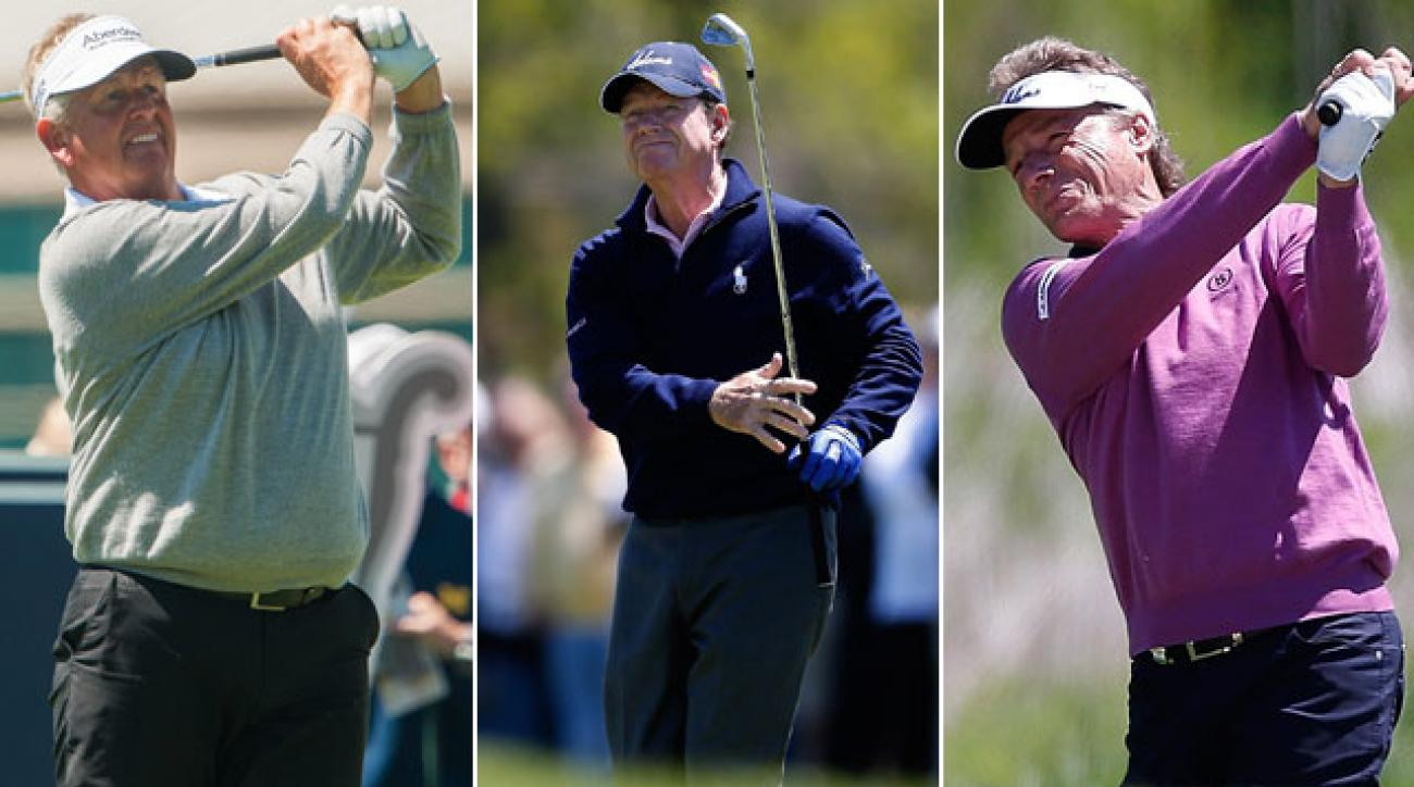 Colin Montgomerie, Tom Watson and Bernhard Langer gave a lesson on major championship golf Friday in the Senior PGA.