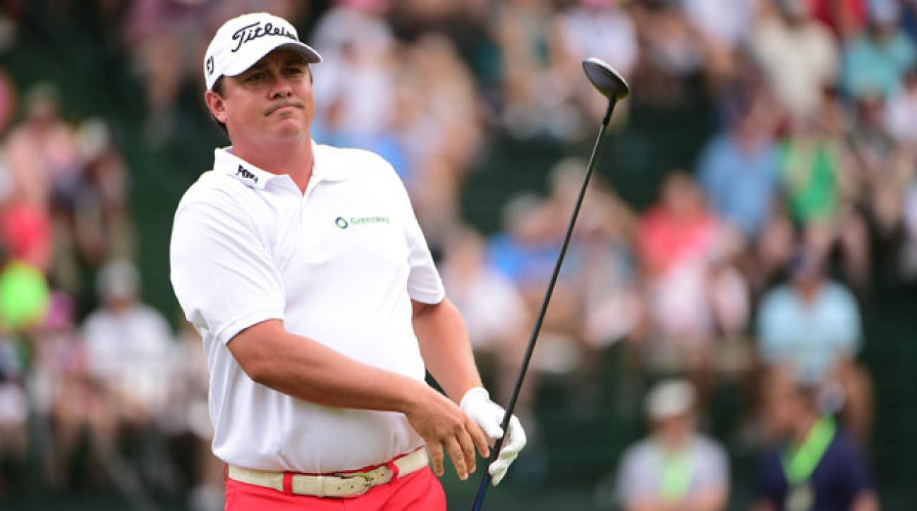 Jason Dufner tees off during the 2014 U.S. Open. Dufner missed the cut at the Masters and U.S. Open, finished 51st at the British Open and withdrew from the PGA Championship.