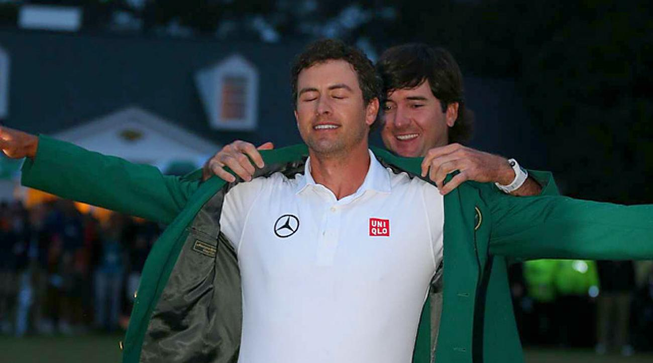 Less than a year after collapsing in the final round at the British, Adam Scott slipped into a green jacket.