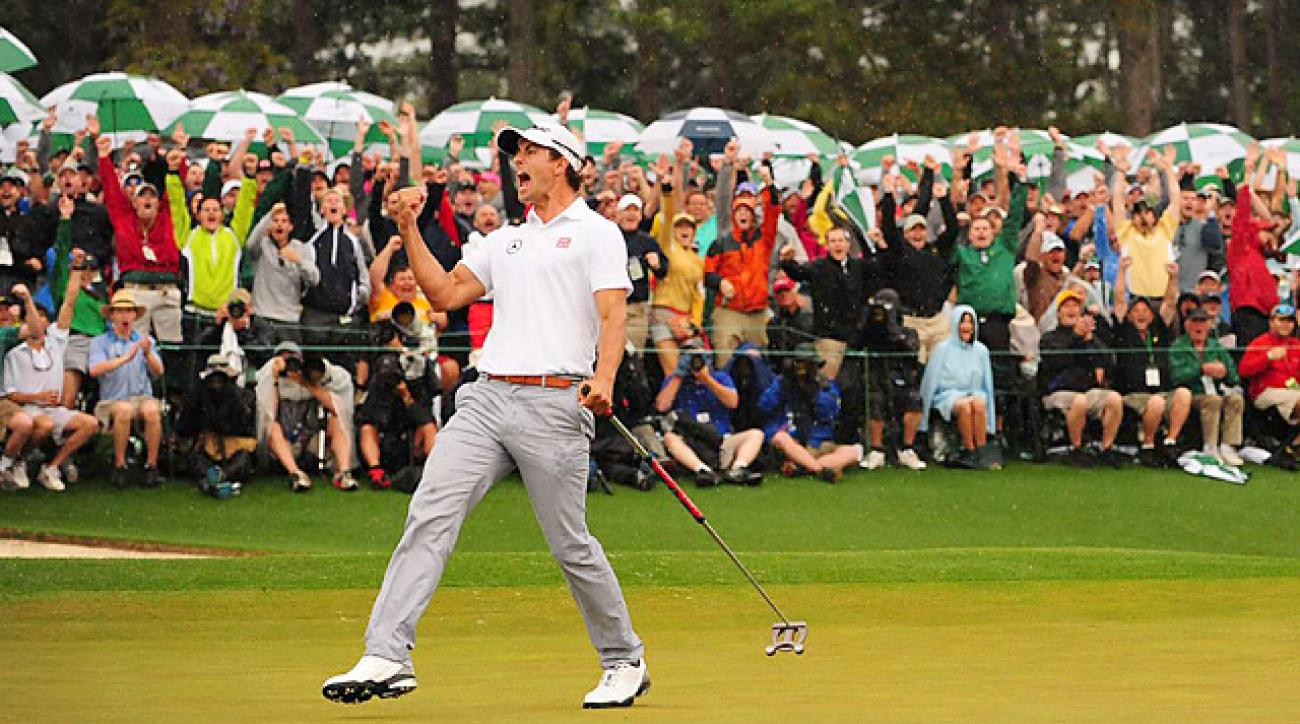 Adam Scott sank birdie putts on the 18th in regulation and the 10th in the playoff to win the Masters.