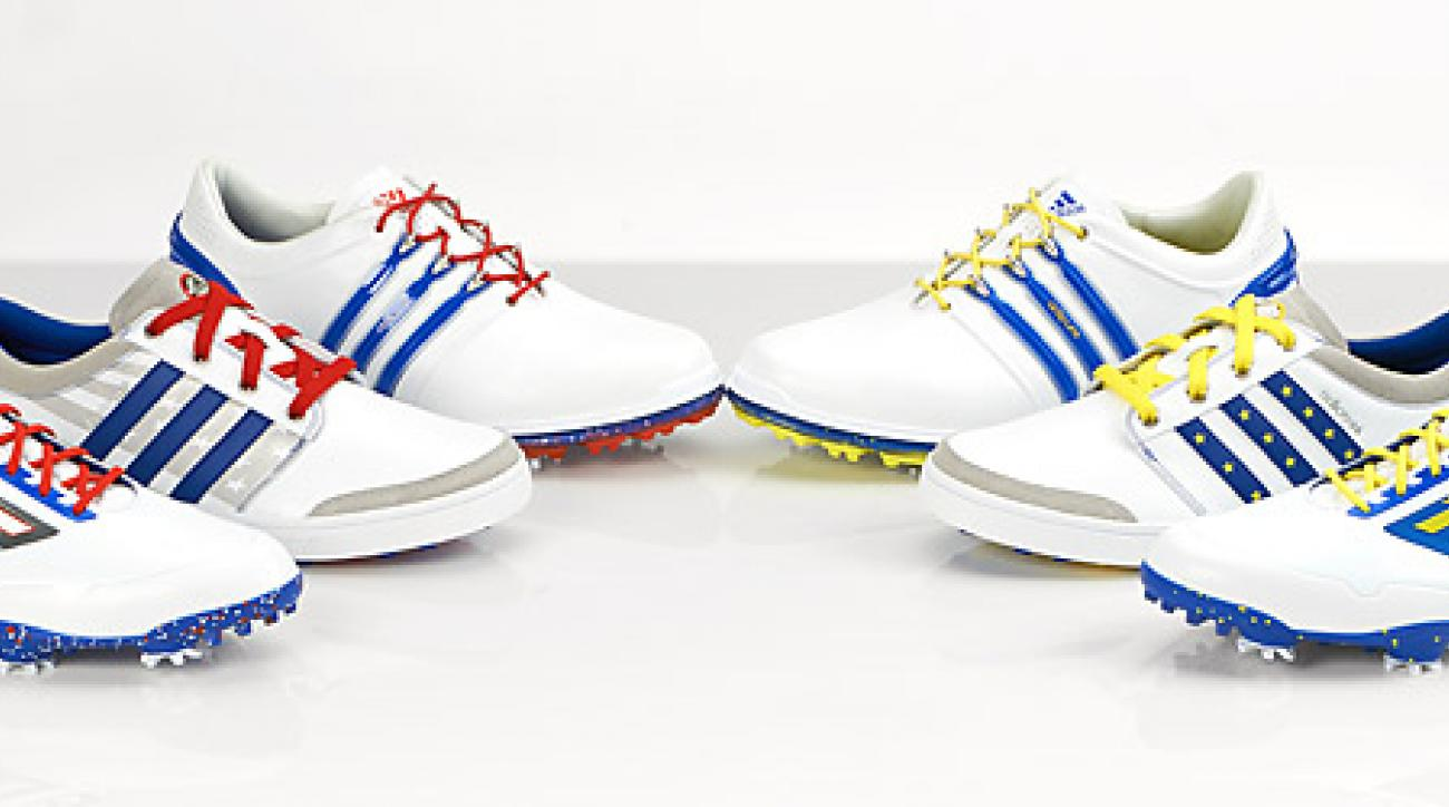 Adidas custom U.S. (left) and European Ryder Cup team golf shoes.