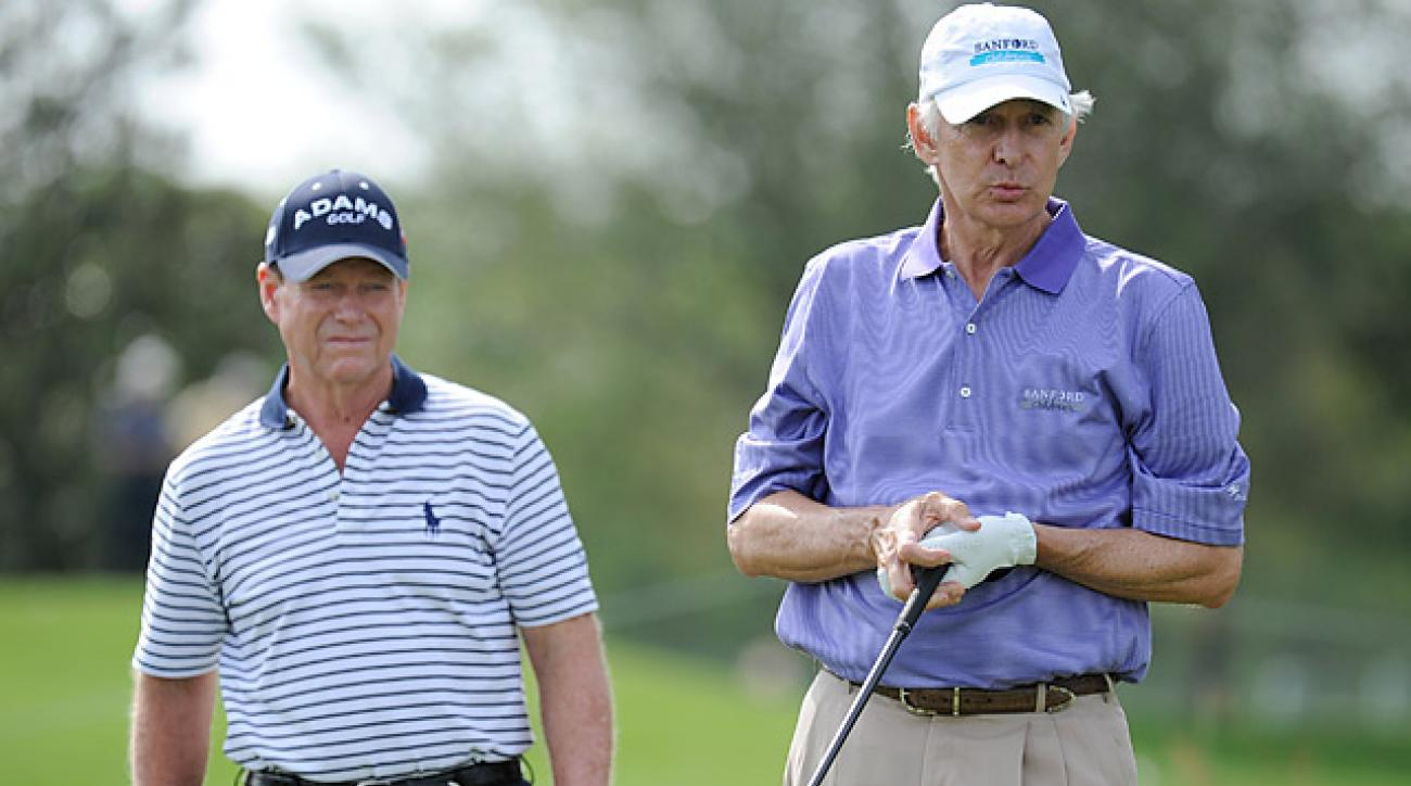 2014 U.S. Ryder Cup captain Tom Watson (left) with Andy North.