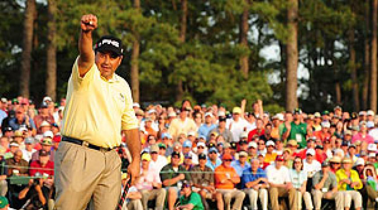 Cabrera stayed in the game when he saved par from the trees on the first playoff hole.