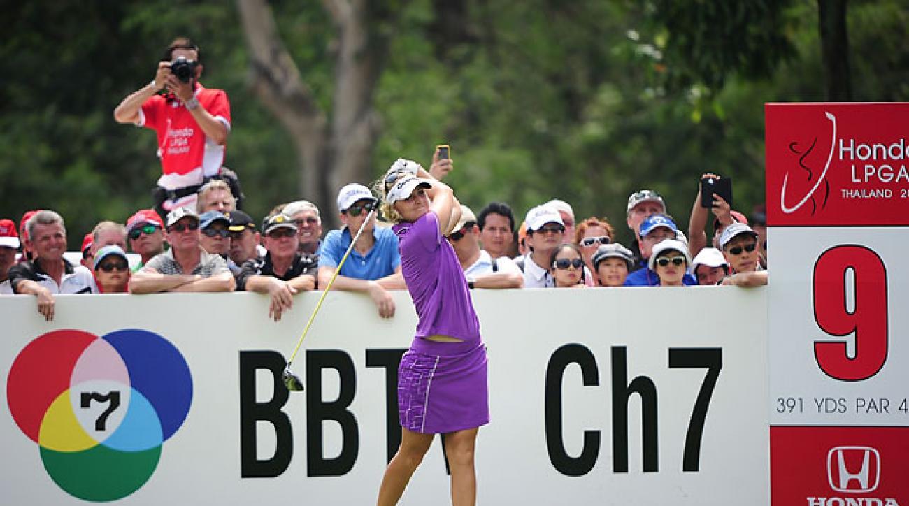 Anna Nordqvist plays her shot during the fourth round of the Honda LPGA on Sunday in Chonburi, Thailand.