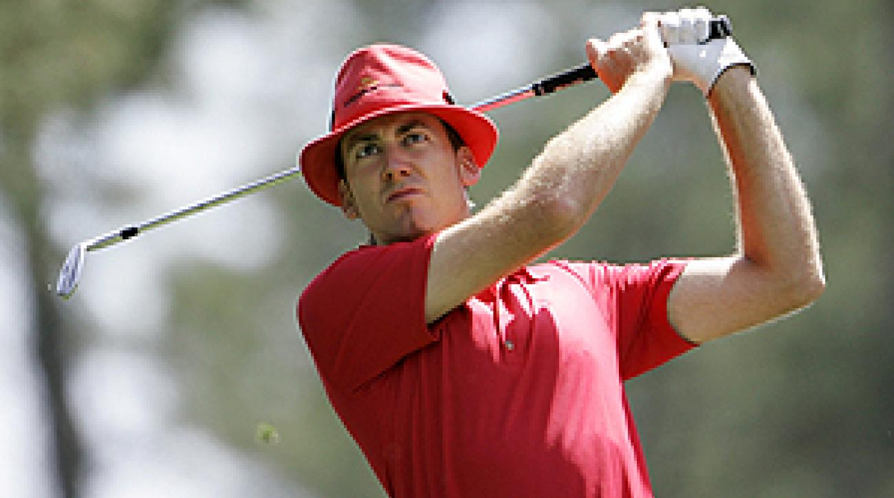 Ian Poulter sported this red shirt and red fedora during the par-3 contest on Wednesday.