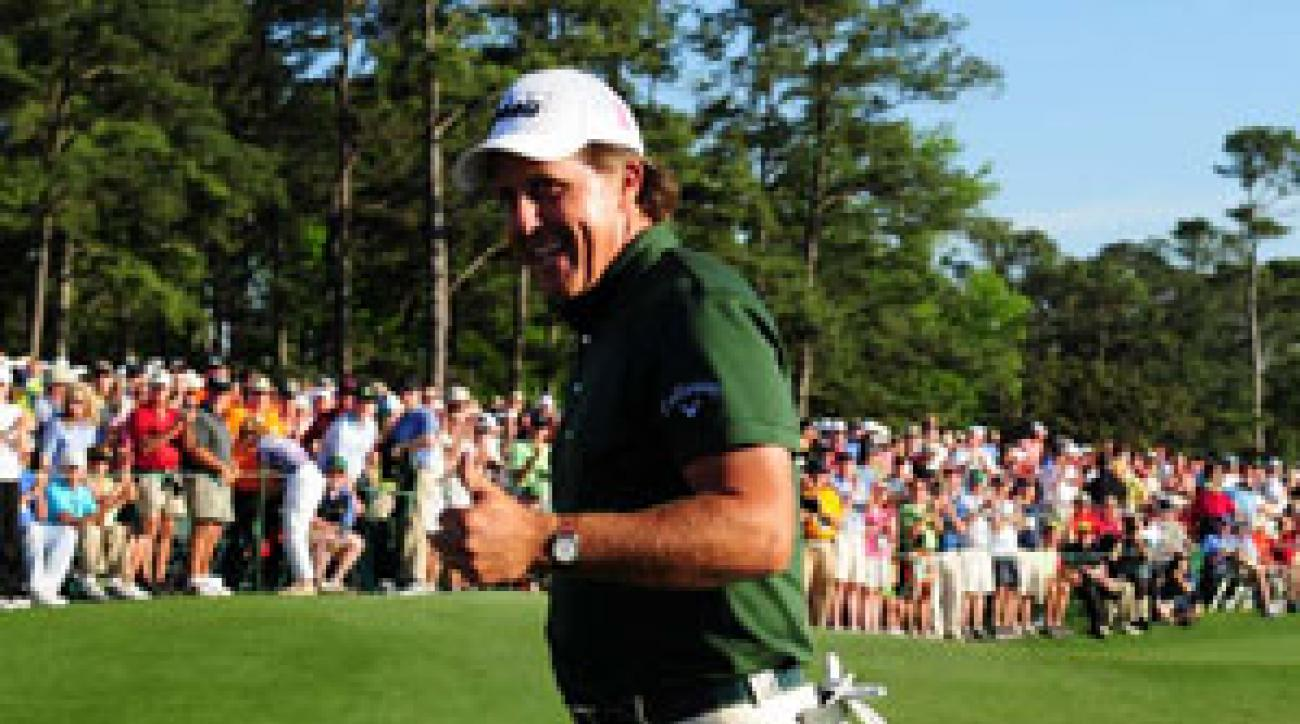 Phil Mickelson is seeking a third green jacket, and fourth major title, on Sunday.