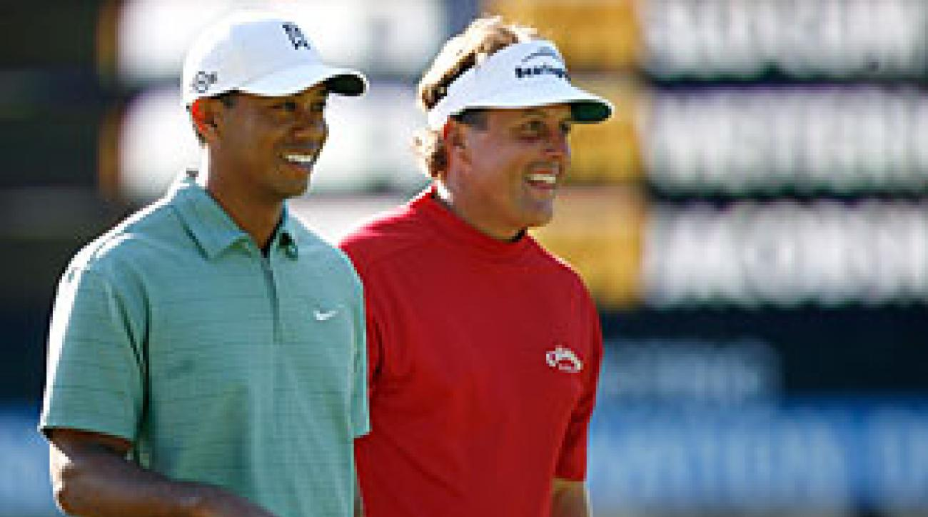 Tiger Woods and Phil Mickelson have a chance to be paired on Sunday.