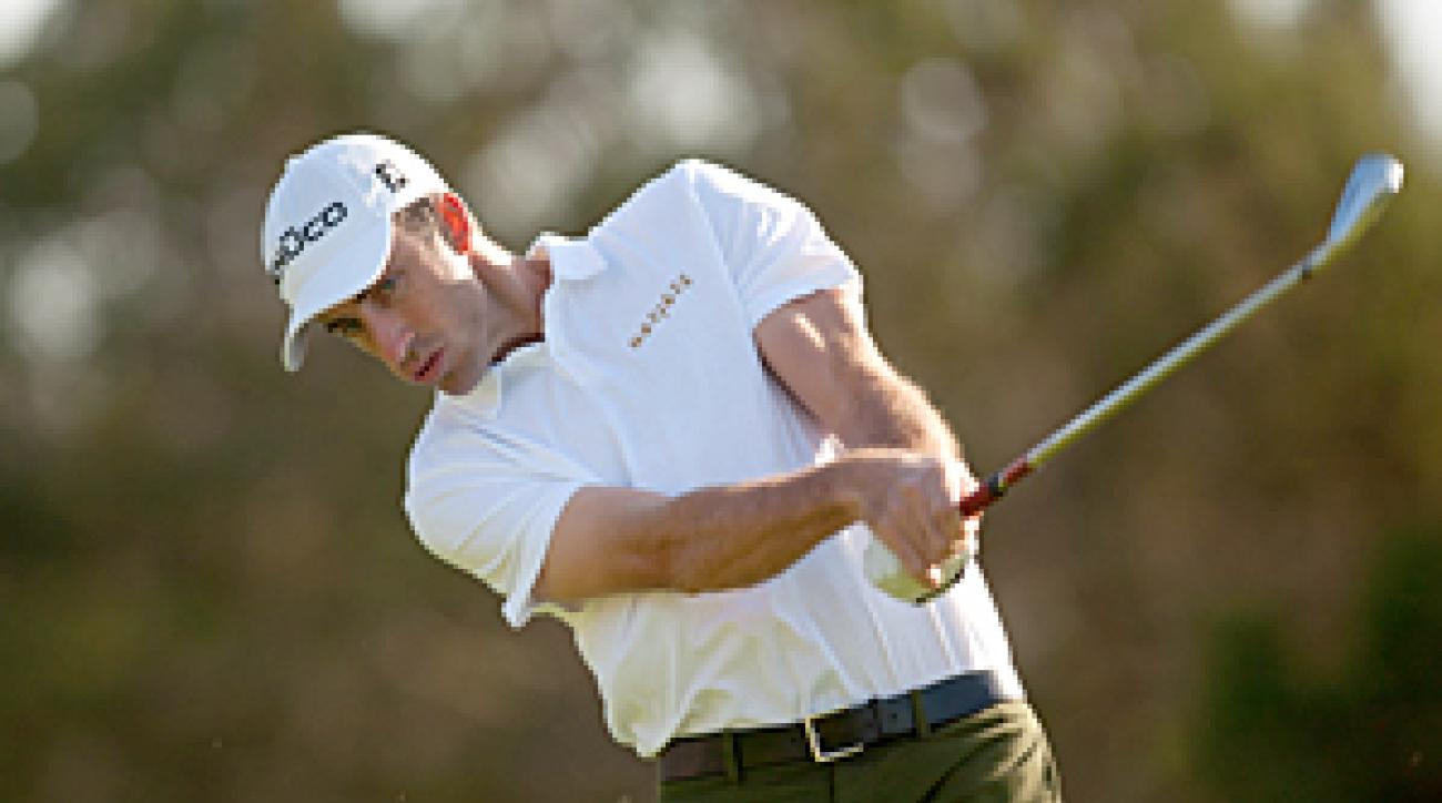 Geoff Ogilvy shot even par in tough conditions on Friday.