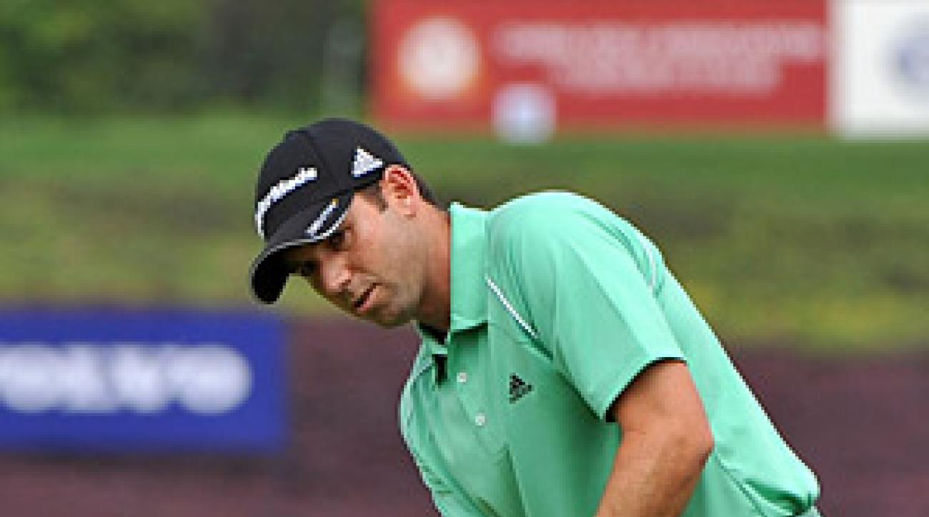 Sergio Garcia is two shots back of leader Han Chang-won after the first round of play.