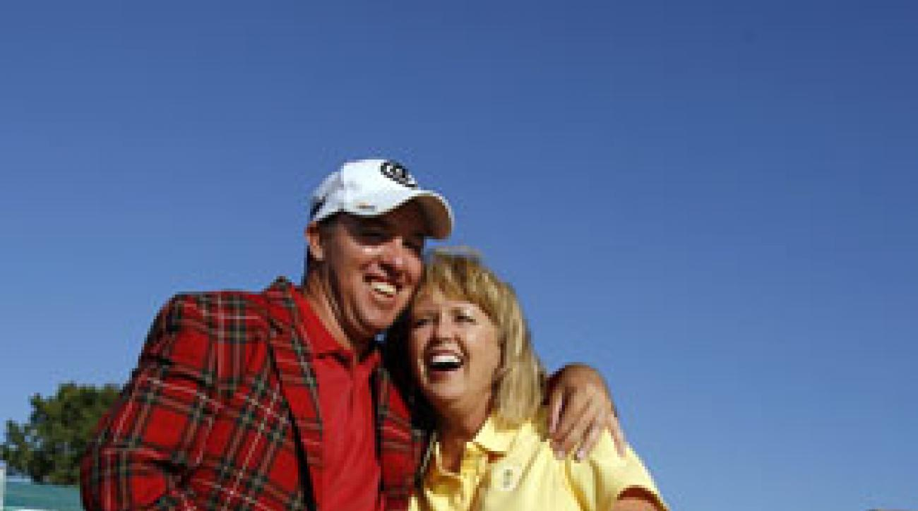 Patsy blew it past her son in the pro-am and let him know about it.