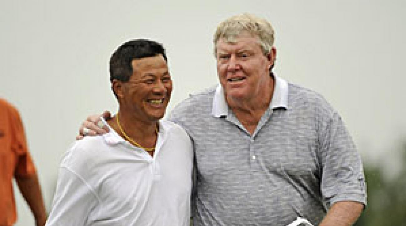 Chien Soon Lu (left) and Andy Bean combined to shoot a 12-under 60 on Saturday.