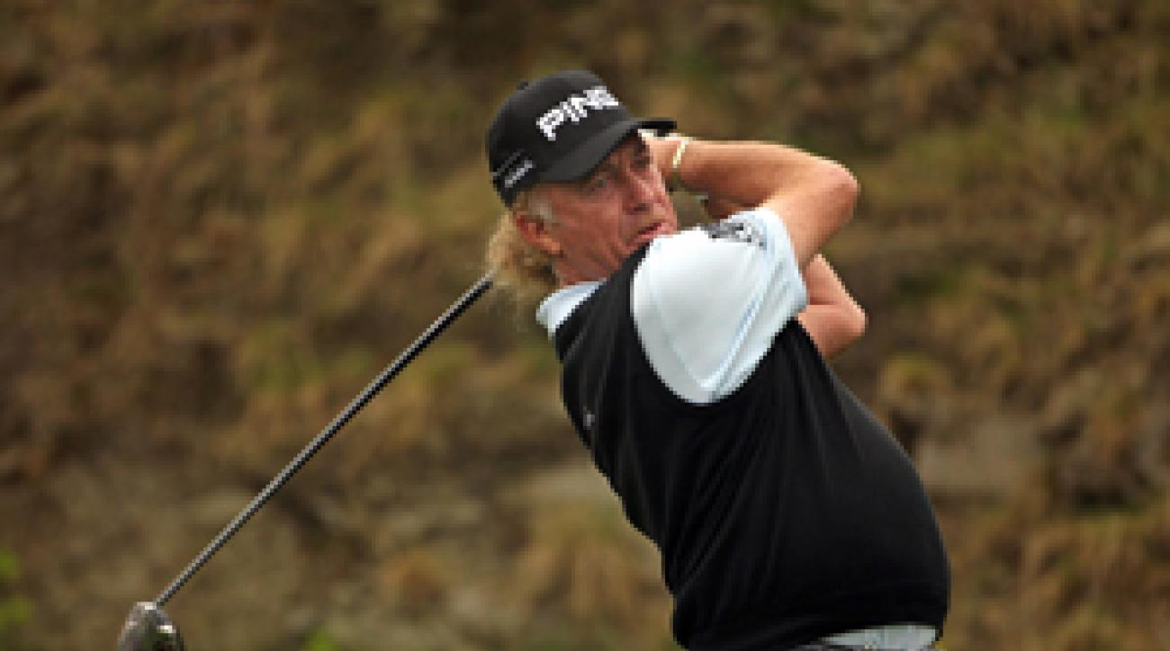 Miguel Angel Jimenez made three birdies on the front nine before play was suspended.
