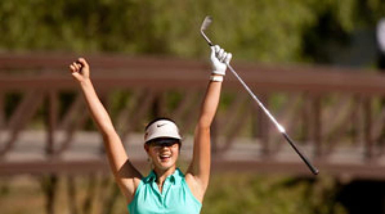 Michelle Wie holed a bunker shot for birdie on No. 16.