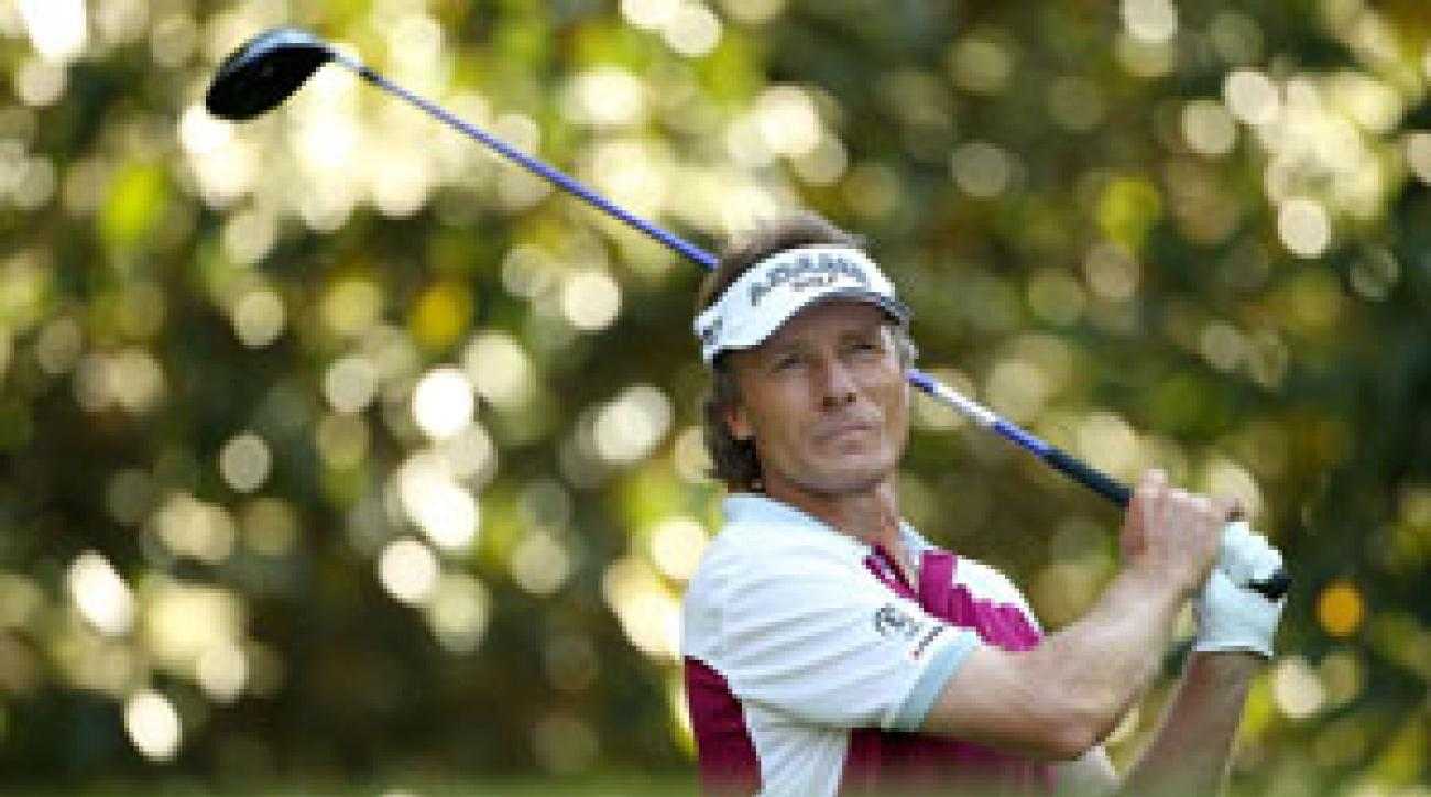 Bernhard Langer played a practice round shortly before the Champions Dinner on Tuesday night.