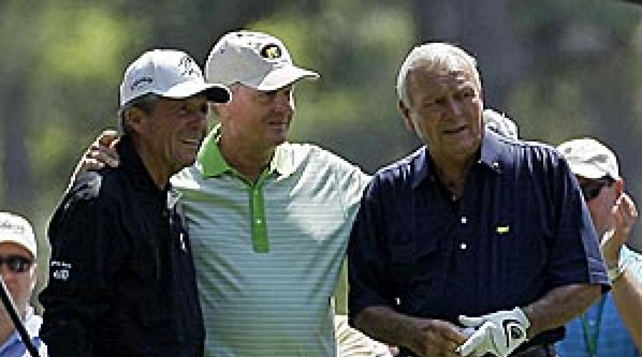 From left: Gary Player, Jack Nicklaus and Arnold Palmer, golf's Big Three, came together to play the Par-3 contest.