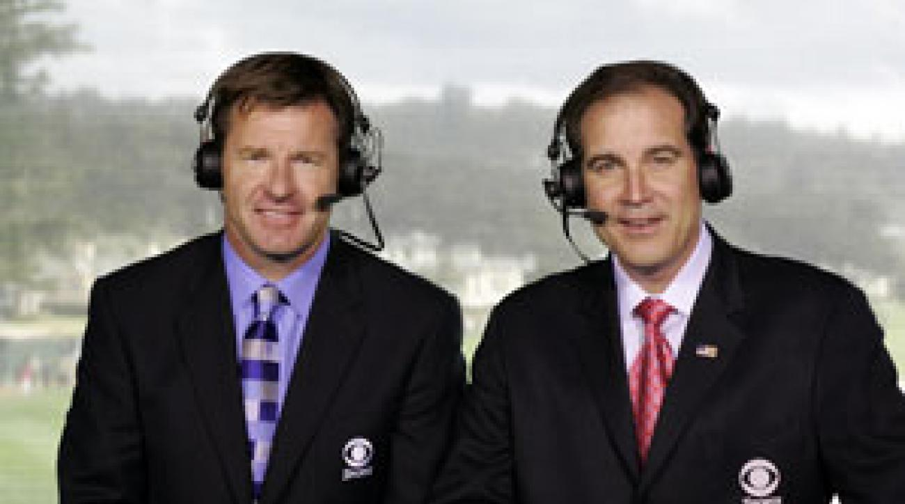 Jim Nantz, right, (with CBS partner Nick Faldo) will call his 25th Masters in April.