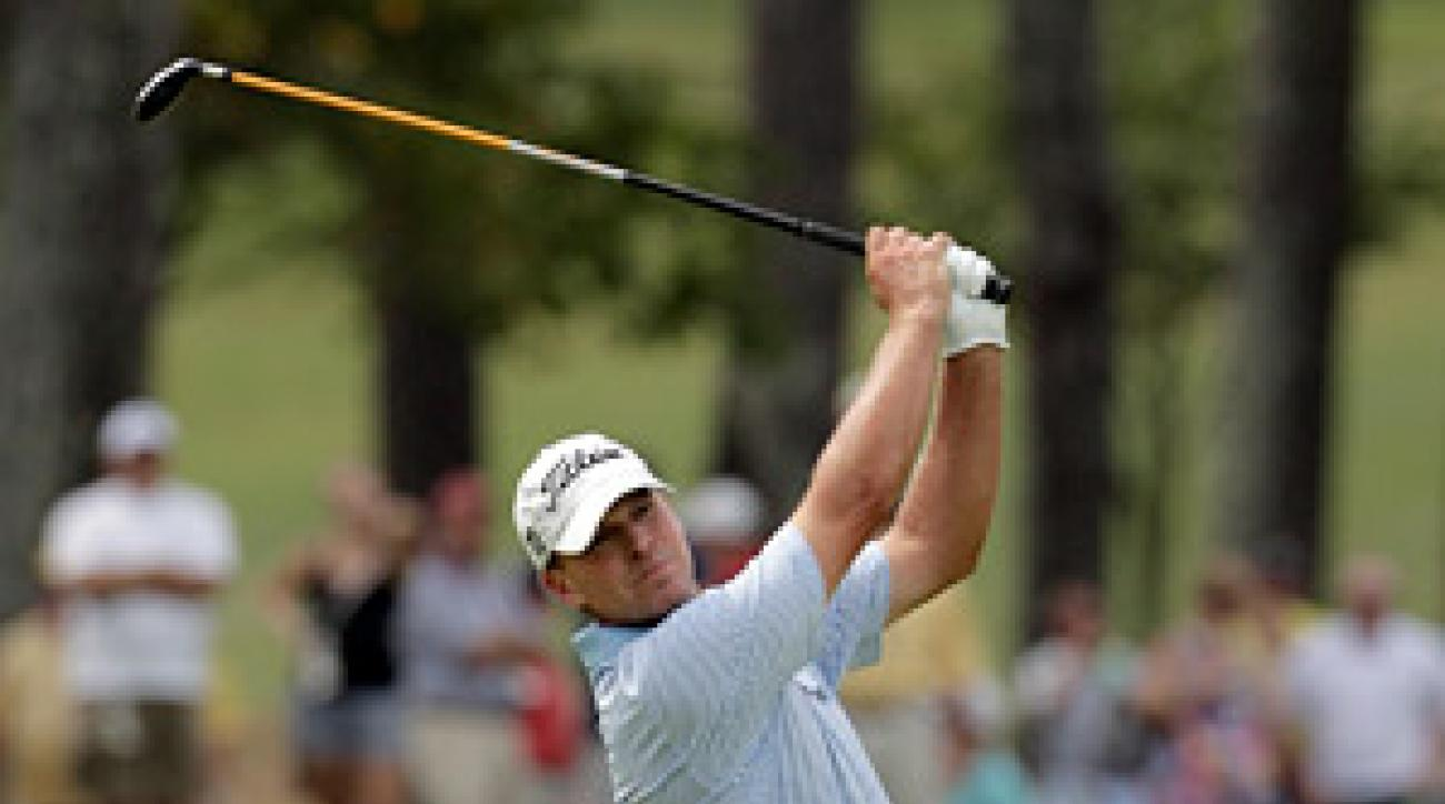 Steve Stricker fired a seven-under 77 to take the lead at the 2011 PGA.