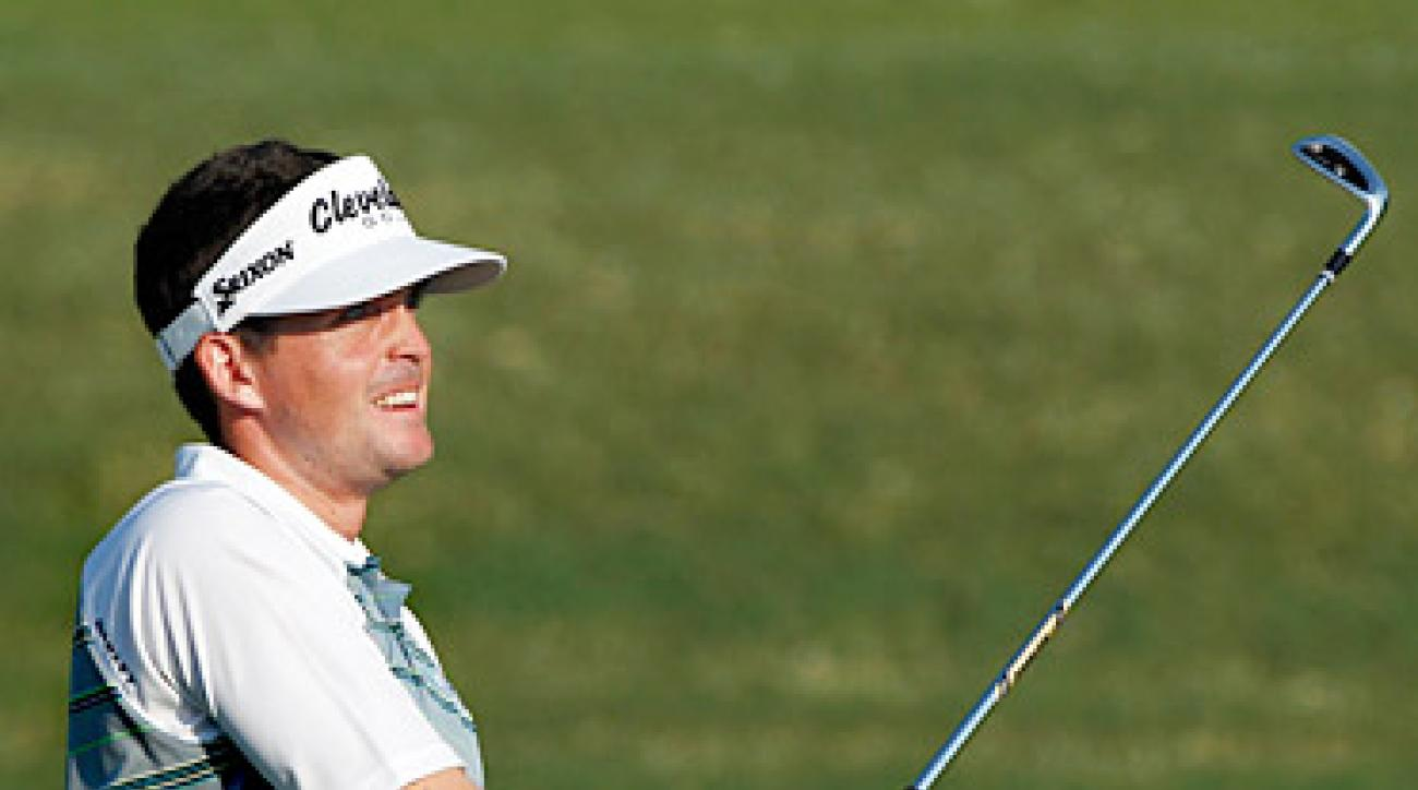 Keegan Bradley, playing in hist first major, is tied for the lead after 36 holes.