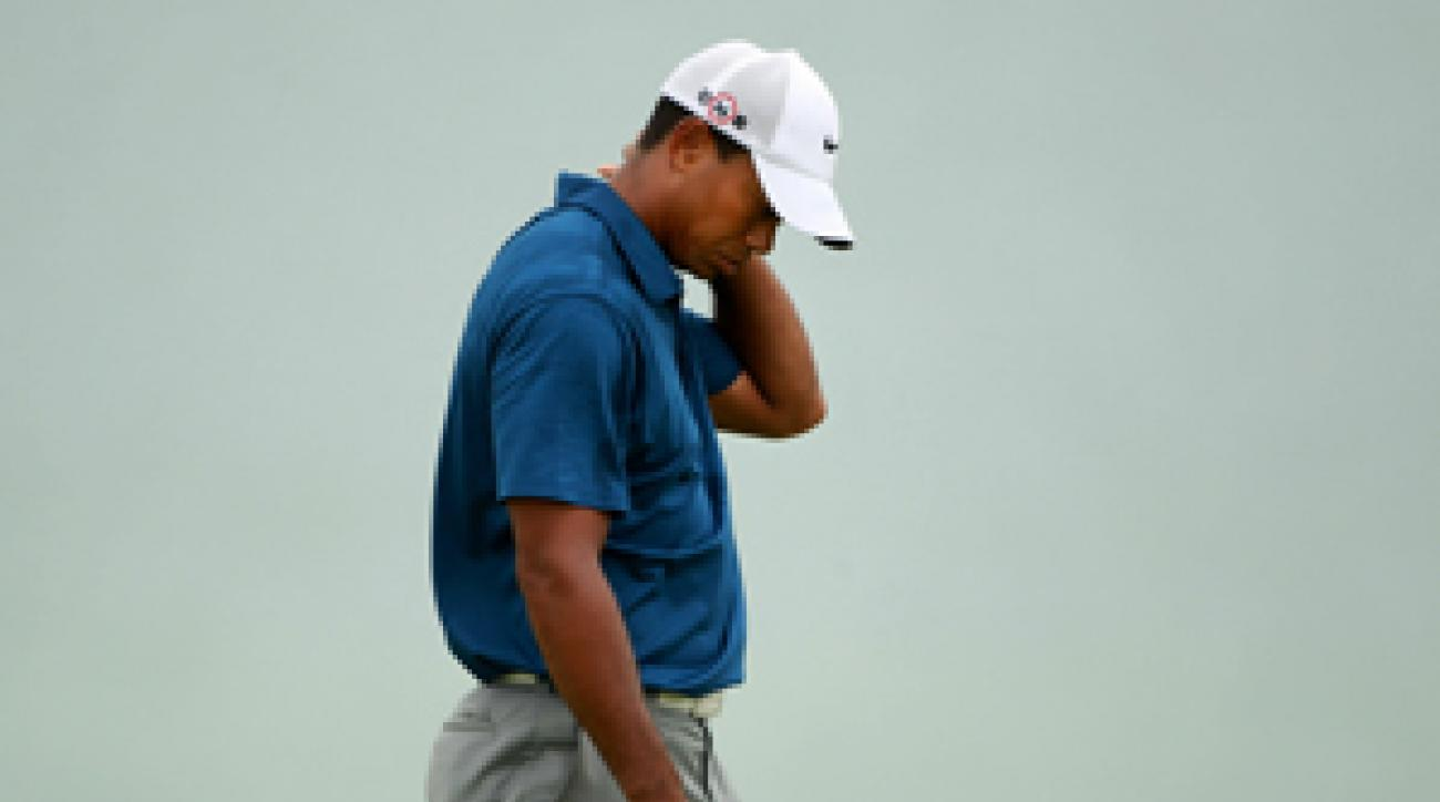 Tiger Woods made four birdies and four bogeys on Saturday.