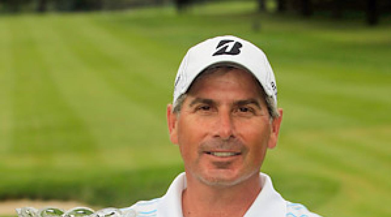Fred Couples birdied the third hole of the sudden-death playoff to defeat John Cook and win his first Champions Tour major.