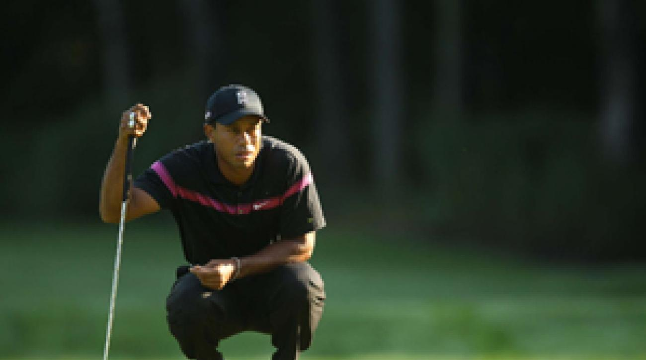 Tiger Woods made seven birdies and a bogey in the first round.