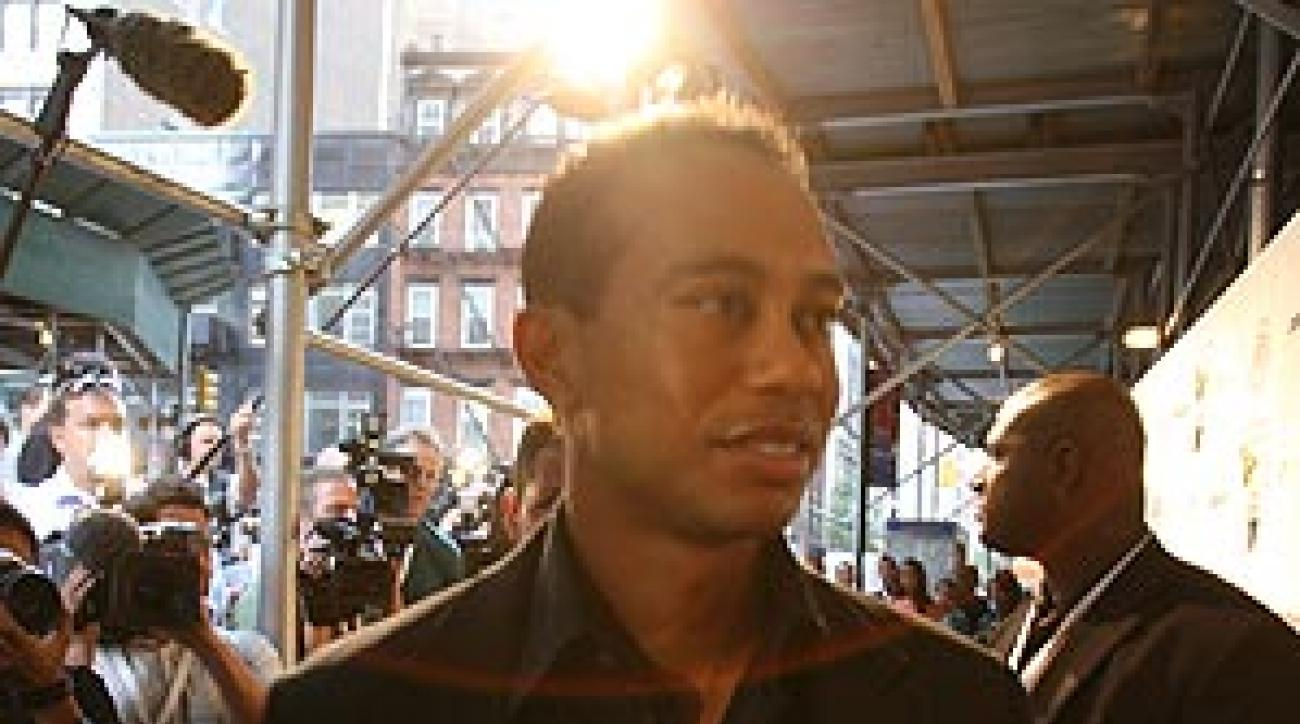 Woods recently appeared in New York City for the release of his new video game.