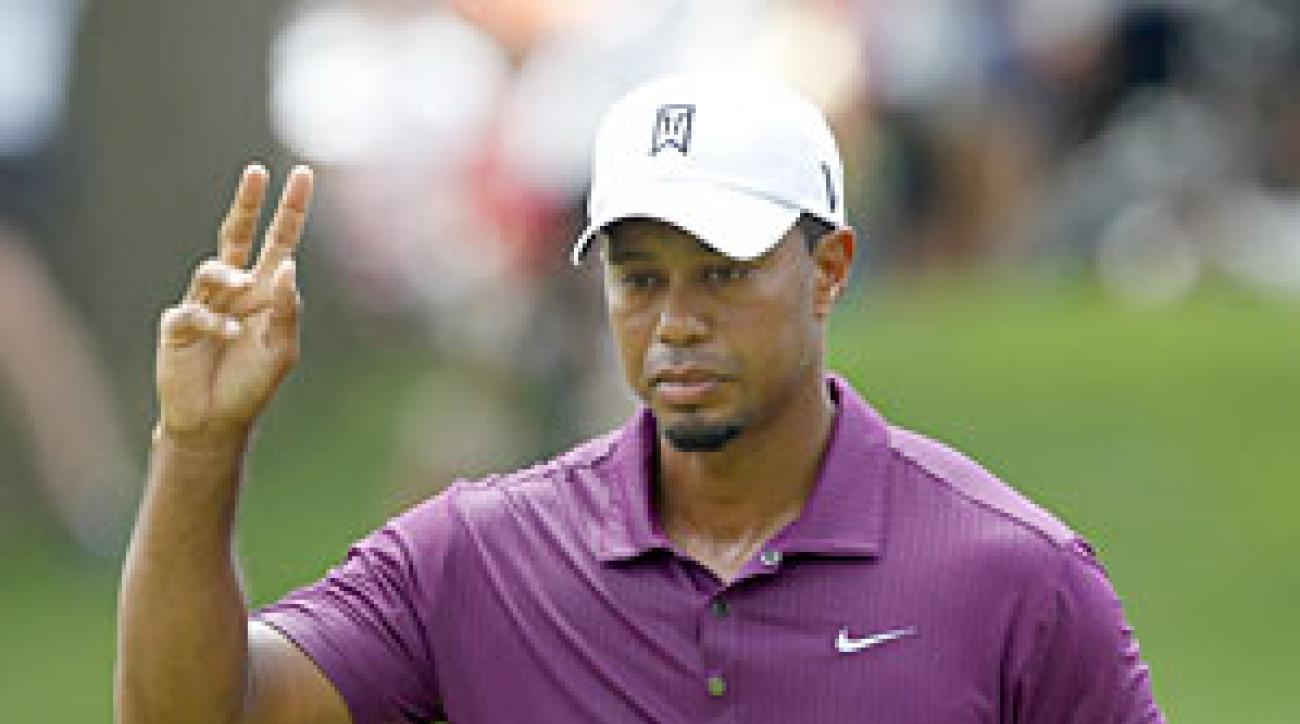 Tiger Woods made three birdies and a bogey on Thursday.