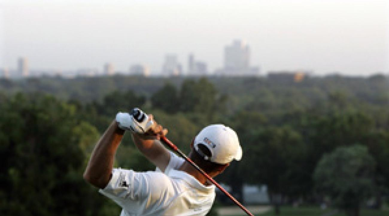 Charles Howell III teed off toward the Tulsa skyline Wednesday morning.