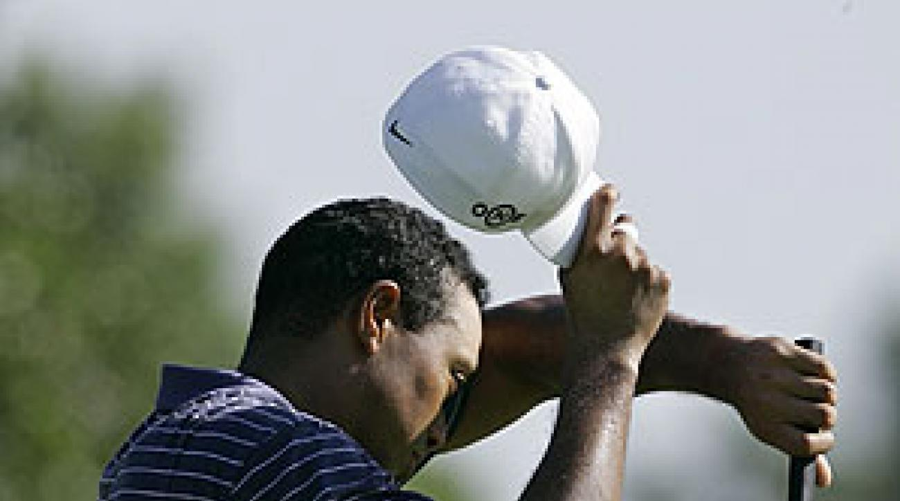 Tiger Woods played a hot practice round Wednesday morning.