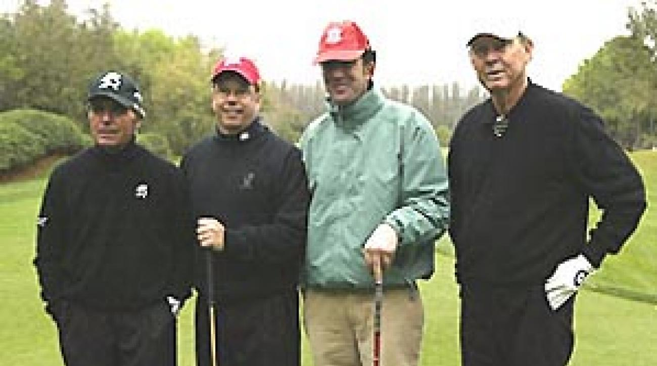 The teams (from left) of Player and Campbell, and Bamberger and Douglass were two of 72 competing in the Outback Steakhouse Pro-Am at TPC Tampa Bay.