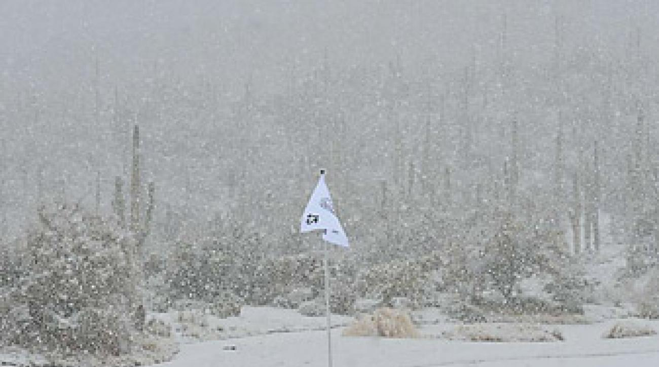 According to the Rules of Golf, snow accumulation is considered casual water.