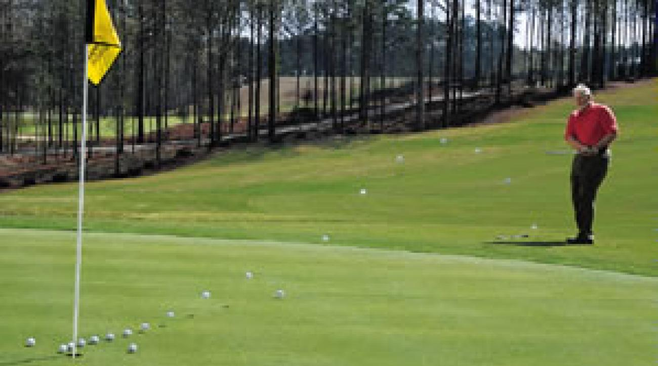 Test the high pitch against the 8-iron chip.