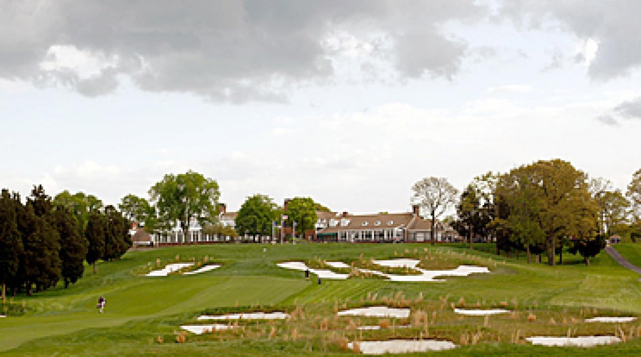 The 19th hole at Bethpage Black looks even better after a walk up the hilly 18th hole.