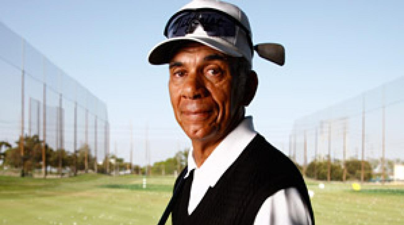 Wright at the driving range where he teaches near LAX airport.