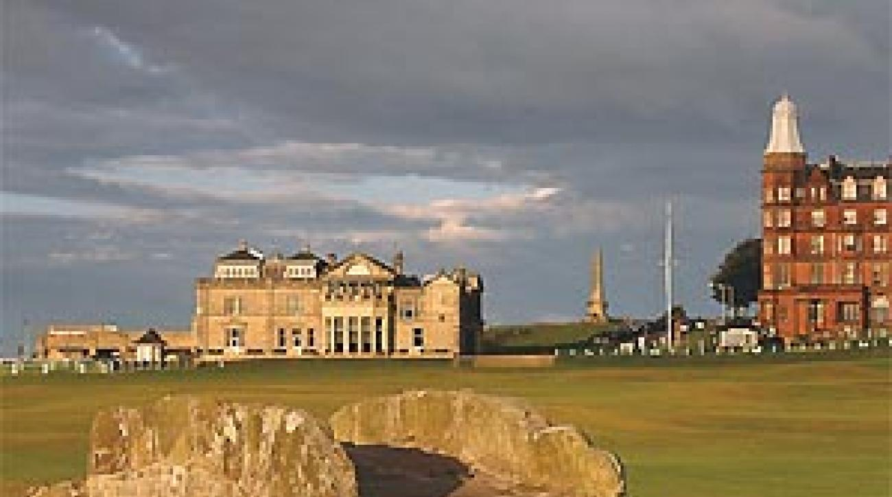 The famous 18th hole at the Old Course in St. Andrews.