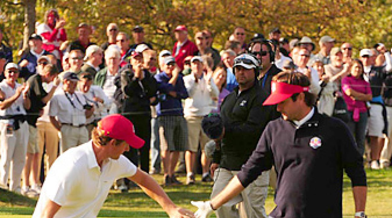 Webb Simpson and Bubba Watson teamed up to beat Paul Lawrie and Peter Hanson 5 and 4 in the afternoon.