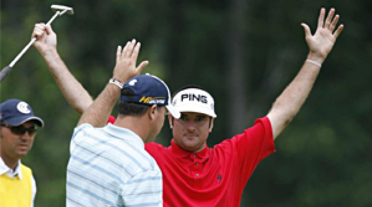 In contention all week Watson finished T5, while Weekley (foreground) came in T26.